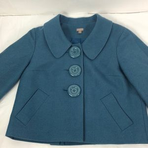 Halogen Blazer Shrug Cropped Teal Wool Blend Lined